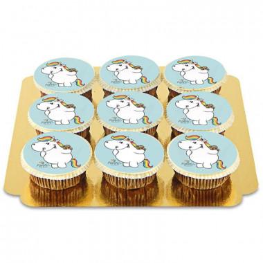 Blåa Chubby Unicorn Cupcakes - 9st