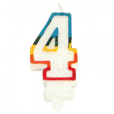 """Färggrant sifferljus """"4"""""""