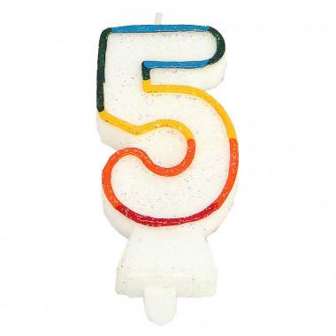 """Färggrant sifferljus """"5"""""""
