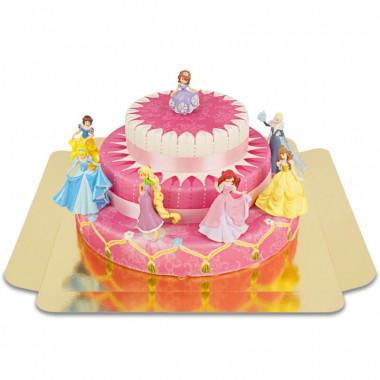 Sju Disneyprinsessor på trevåningstårta