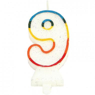 """Färggrant sifferljus """"9"""""""