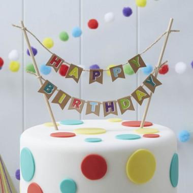 "Tårtdekoration, ""Happy Birthday"""