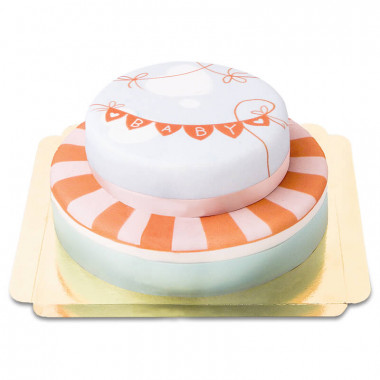 Baby-shower tårta i två våningar