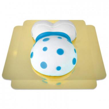 Babymage tårta med blåa detaljer