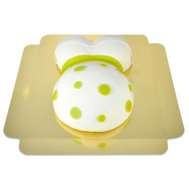 Babymage tårta med gröna detaljer