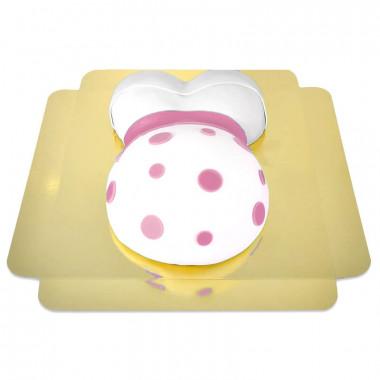Babymage tårta med rosa detaljer