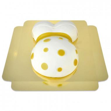Babymage tårta med gula detaljer