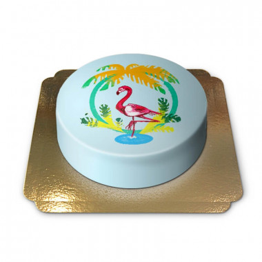Blå Flamingo-Tårta
