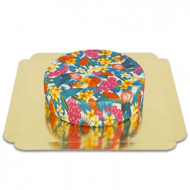 Blå tårta med tropiska blommor