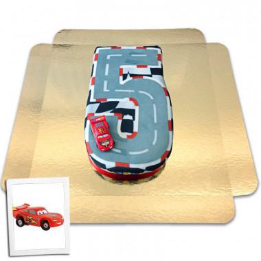 Bilar på siffertårta nr. 5