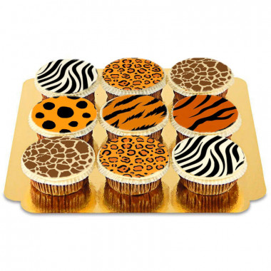 Cupcakes med djurmönster (9 st)
