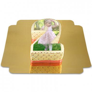 Deluxe siffertårta med foto, valfri färg