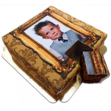 Fototårta deluxe - Guldram på dubbelfudgetårta
