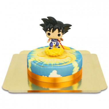 Unga Son Goku flygande på Nimbus på molntårta