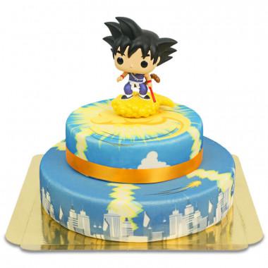 Unga Son Goku flygande på Nimbus på tvåvåningstårta