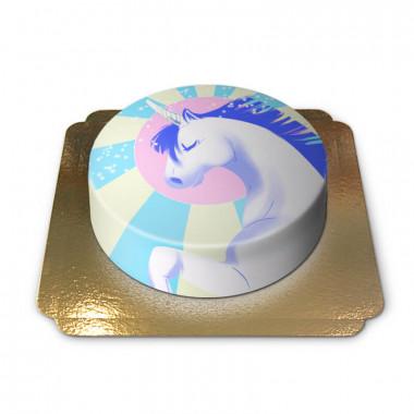Unicorntårta, blå/vit