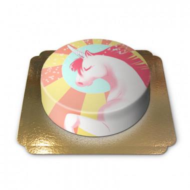 Unicorntårta, gul/röd
