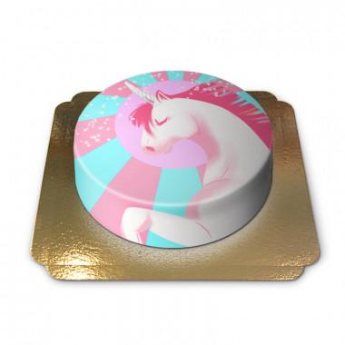 Unicorntårta, rosa/blå