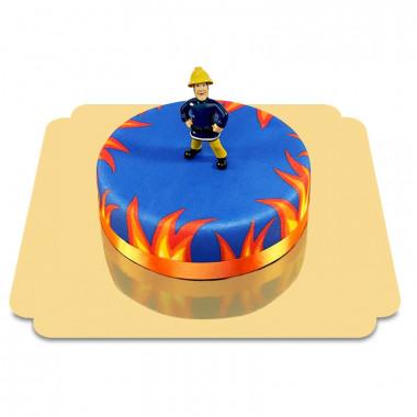 Brandman Sam på blå tårta