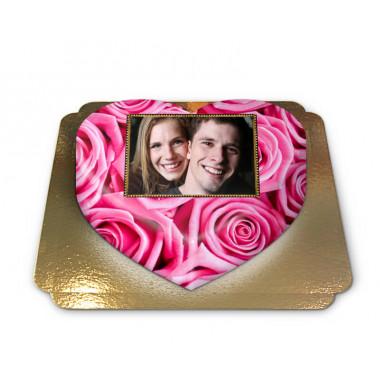 Fototårta med rosa rosor i hjärtform