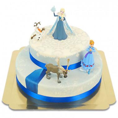 Anna, Elsa, Olof & Sven från Frost på tvåvåningstårta
