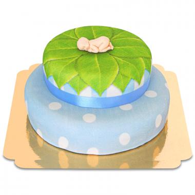 Babyfigur på tvåvåningstårta, blå
