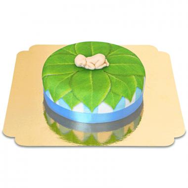 Babyfigur på lövtårta, blå