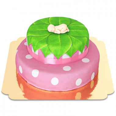 Babyfigur på tvåvåningstårta, rosa