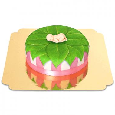 Babyfigur på lövtårta, rosa