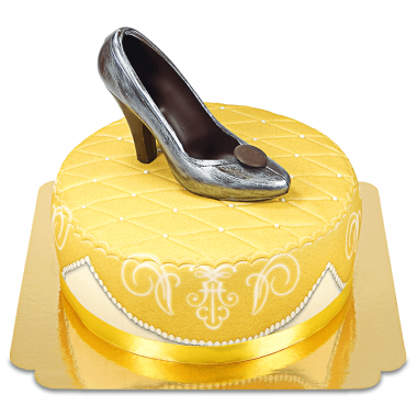 Guldig deluxetårta med chokladsko