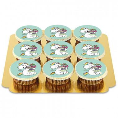 Gröna Chubby Unicorn Cupcakes - 9st