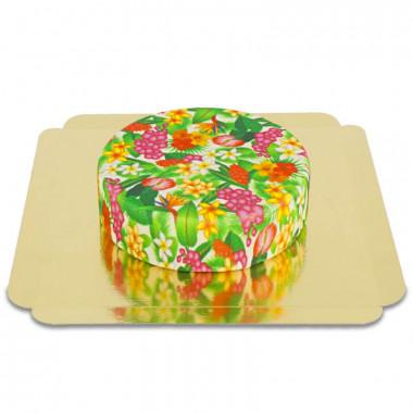 Grön tårta med tropiska blommor