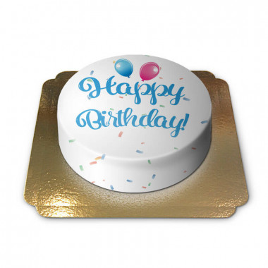 Happy Birthday tårta, blå