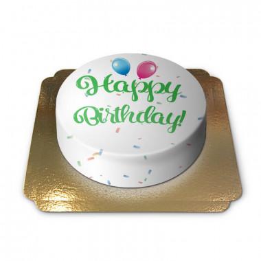 Happy Birthday tårta, grön