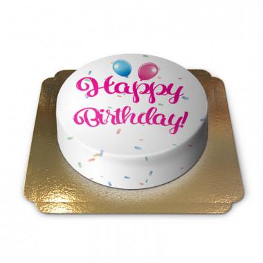 Happy Birthday tårta, rosa