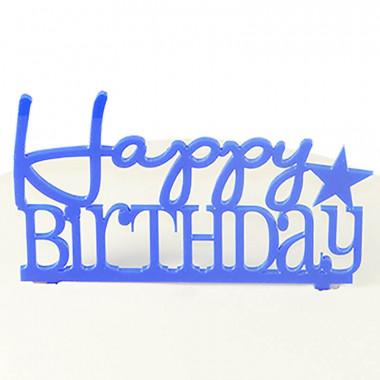 """Tårtdekoration, """"Happy Birthday"""" i blå"""