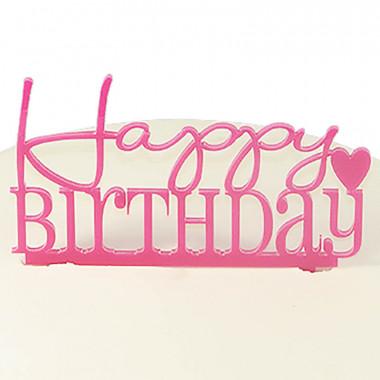 """Tårtdekoration, """"Happy Birthday"""" i rosa"""