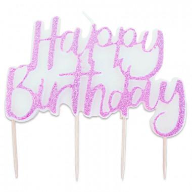 Tårtljus Happy Birthday rosa