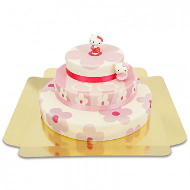 Hello Kittys på blomstrande tårta