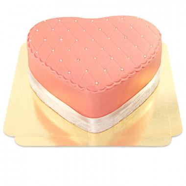 Deluxe Alla Hjärtans-tårta, rosa - dubbel höjd