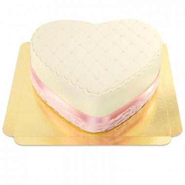 Deluxe Alla Hjärtans-tårta, vit - dubbel höjd