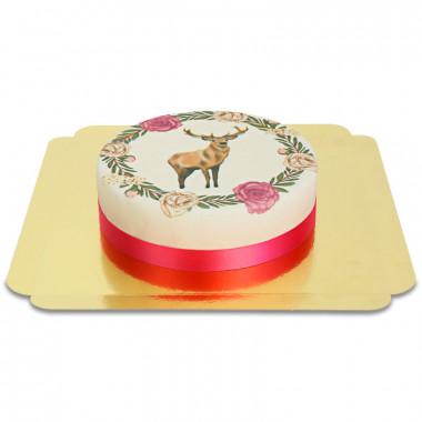 Hjort med blomkrans-tårta