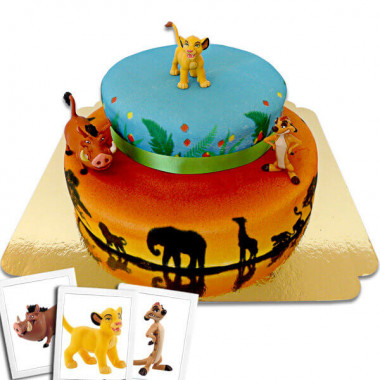 Simba, Timon & Pumba på tvåvånings savann-tårta