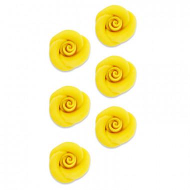Marsipanros, gul (6 st)