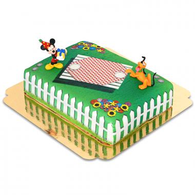 Musse Pigg och Pluto på picknick-tårta