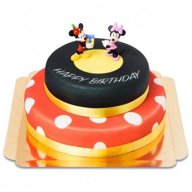 Musse Pigg och Mimmi på födelsedagstårta