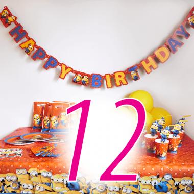 Partyset Minions för 12 barn - Dekorationset exkl. tårta