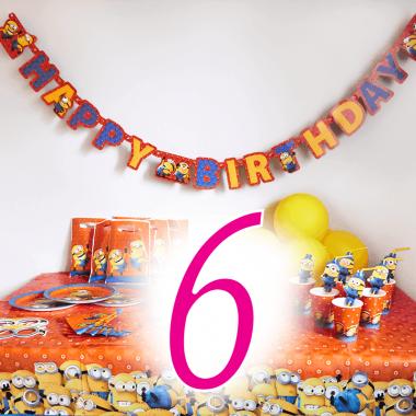 Partyset Minioner för 6 barn - Dekorationset exkl. tårta