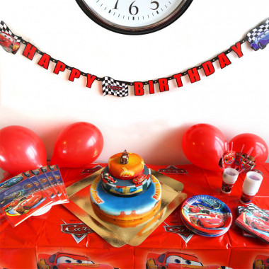 Partyset Bilar - Inkl. tårta