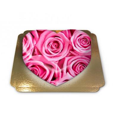 Rosa rostårta i hjärtform